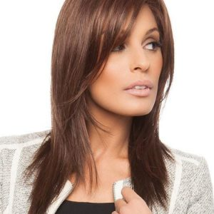 Women Red Layered Synthetic Lace Front Wig Mono Part By Rooted