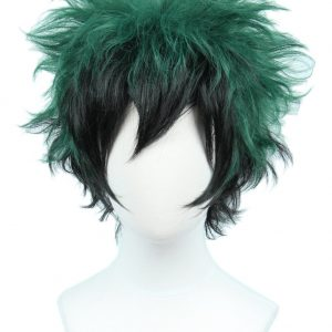 High End Anime-Cosplay-Wig-Halloween-Costume-Wig-Hero, Black Green