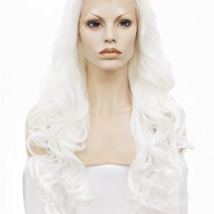 Imstyle Long Wave Snow White Lace Front Synthetic Wigs for Women Drag Queen Cosplay Costume Party Glueless Wig