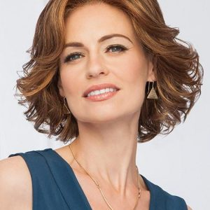 Cheap Women Short Wavy Mid-length Synthetic Lace Front Wig Mono Part By Rooted