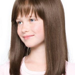 Top Quality Kids' Brunette Synthetic Lace Front Wig Mono Top