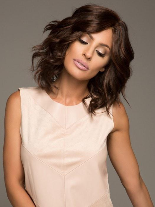 Fashion Women Straight Mid-length Remy Human Hair Lace Front Wig Monofilament By Rooted