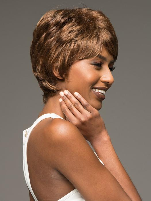 Cheap Women Short Wavy African American Synthetic Wig Basic Cap