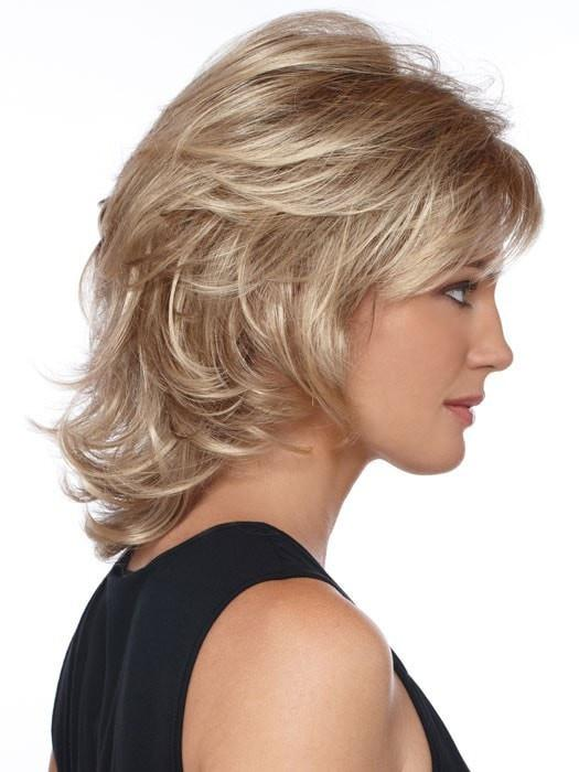 High End Women Wavy Mid-length Synthetic Wig Basic Cap By Rooted