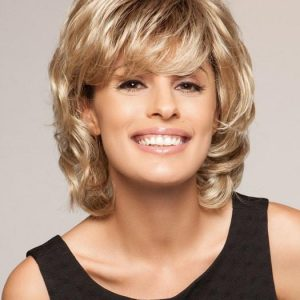 Cheap Women Short Straight Mid-length Synthetic Wig Basic Cap By Rooted