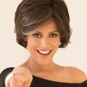 High End Women Short Straight Synthetic Lace Front Wig Mono Part By Rooted