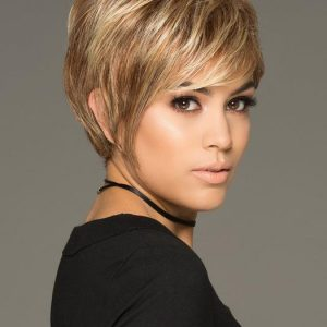 Cheap Women Short Straight Layered Synthetic Wig Basic Cap By Rooted