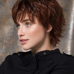 Cheap Women Short Straight Pixie Synthetic Wig Basic Cap By Rooted