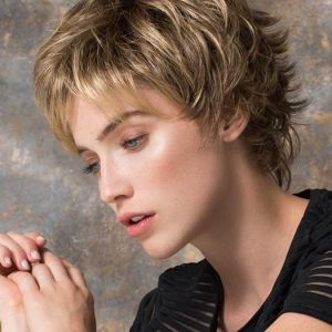 Top Quality Women Short Straight Synthetic Wig Mono Crown