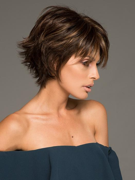 High End Women Straight Layered Synthetic Wig Basic Cap By Rooted