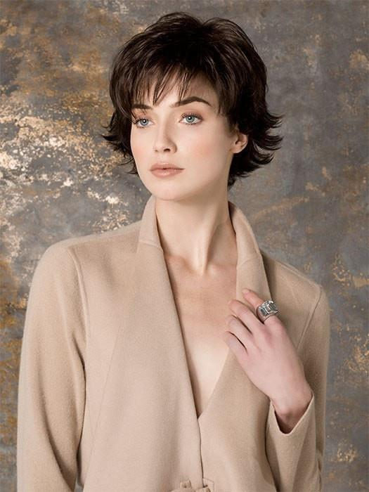 High End Women Short Straight Synthetic Wig Mono Crown By Rooted