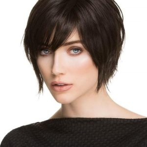 Top Quality Women Short Straight Synthetic Lace Front Wig Mono Part By Rooted