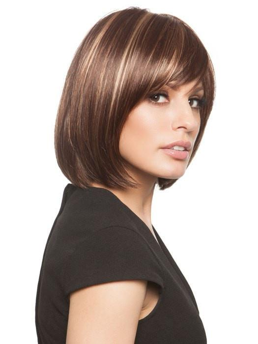 Cheap Women Short Straight Mid-length Monofilament Synthetic Wig Mono Top