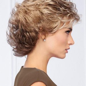 High End Women Short Wavy Synthetic Wig Basic Cap