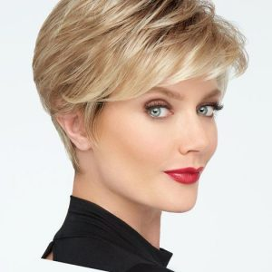 High End Women Short Straight Synthetic Lace Front Wig Mono Crown By Rooted