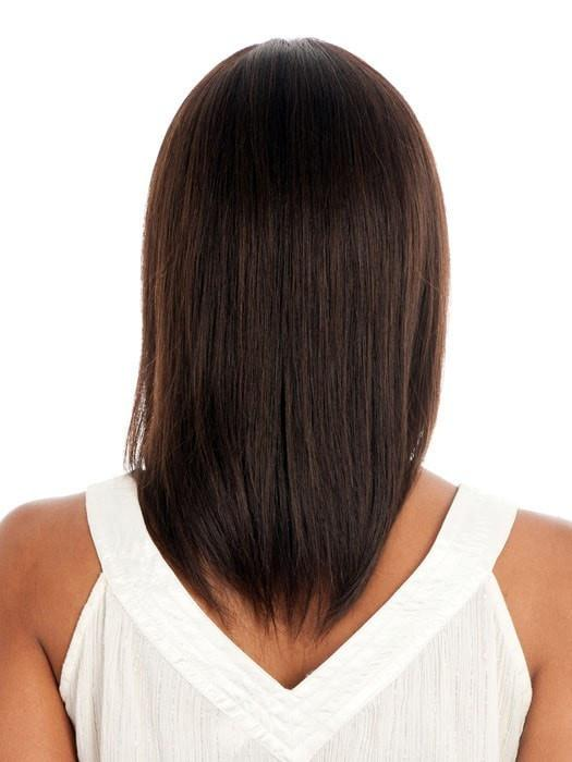 High End Women Straight African American Mid-length Human Hair Wig