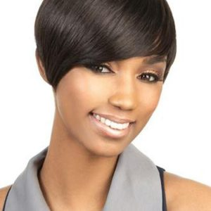 Top Quality Women African Short Straight Human Hair Wig Basic Cap