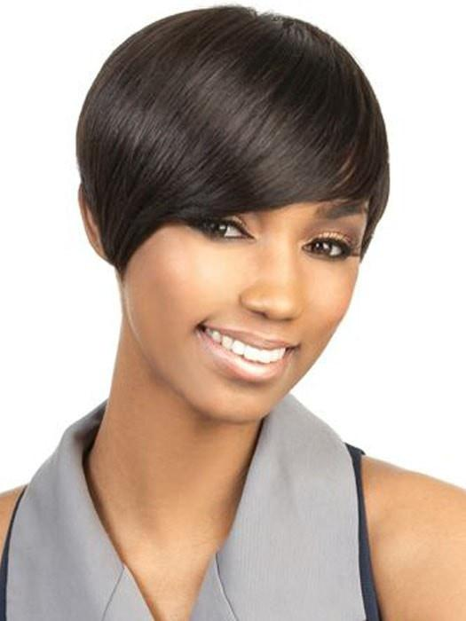 Top Quality Women African Short Straight Human Hair Wig Basic Cap