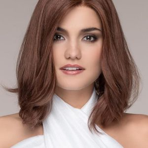 Top Quality Women Short Straight Mid-length Human Hair Lace Front Wig By Rooted