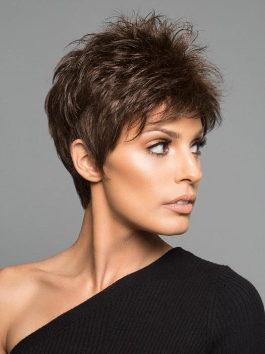 Cheap Women Short Pixie Straight Synthetic Wig Basic Cap By Rooted