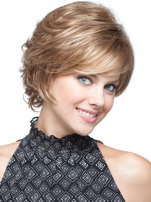 High End Women Short Straight Layered Synthetic Wig Basic Cap By Rooted