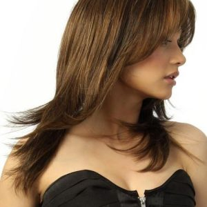 High End Women Straight Mid-length Synthetic Lace Front Wig Mono Part By Rooted