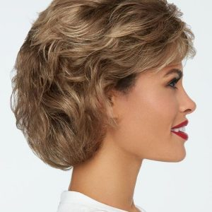 High End Women Wavy Short Lace Front Monofilament Synthetic Wig Mono Top