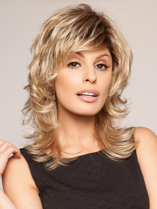 High End Women Mid-length Synthetic Wig Basic Cap By Rooted