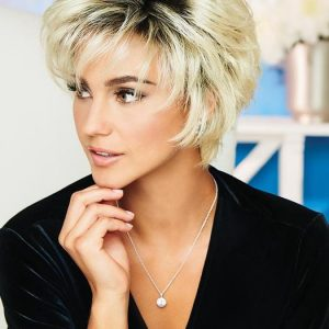 High End Women Short Wavy Synthetic Wig Basic Cap By Rooted