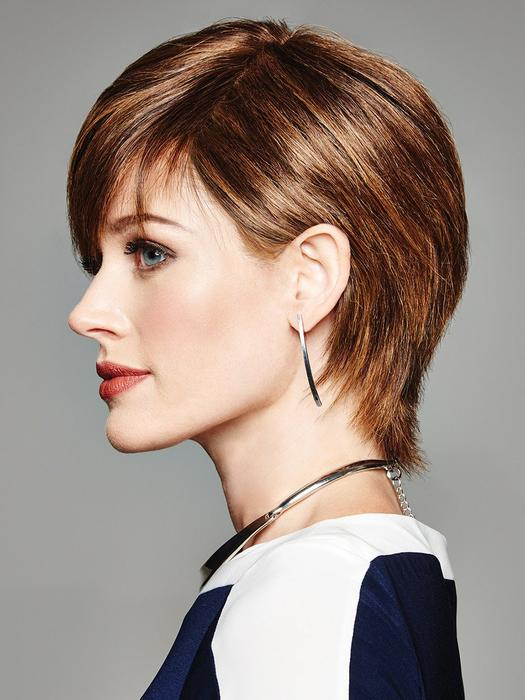 Fashion Women Short Straight Monofilament Lace Front Human Hair Wig By Rooted