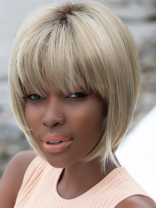 Women Short Straight Synthetic Wig Basic Cap By Rooted