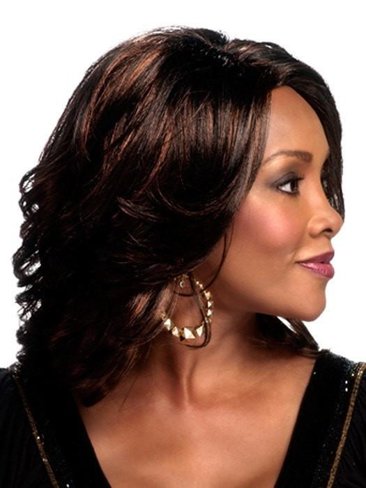 Cheap Women Wavy Mid-length African American Synthetic Wig Basic Cap
