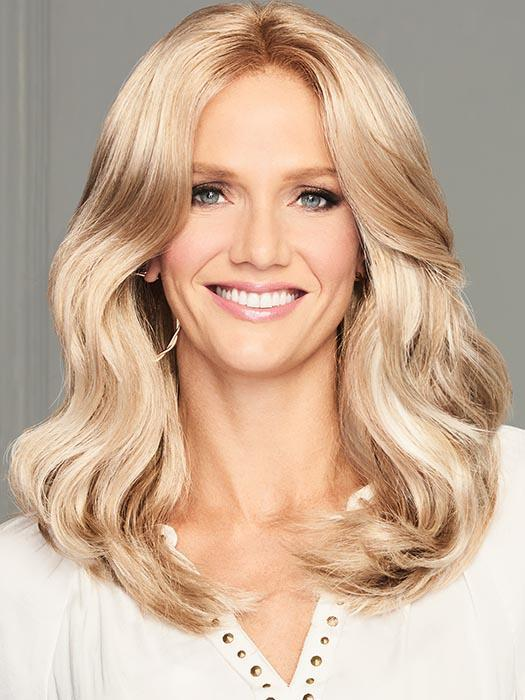 Fashion Women Wavy Synthetic Blonde Lace Front Wig Mono Part By Rooted