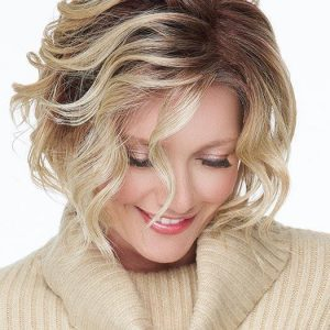 Top Quality Women Curly Hf Synthetic Lace Front Wig Mono Part By Rooted