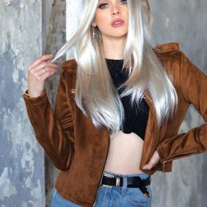 High End Women Long Straight Blonde Synthetic Lace Front Wig By Rooted