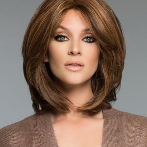 Top Quality Women Straight Mid-length Human Hair Wig Hand-tied