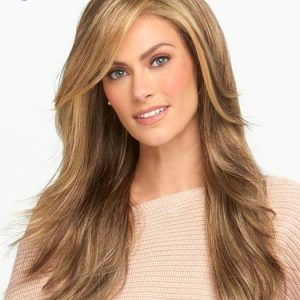 High End Wavy Long Synthetic Lace Front Wig Mono Part By Rooted