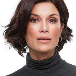 Top Quality Women Short Wavy Synthetic Lace Front Wig Mono Part By Rooted