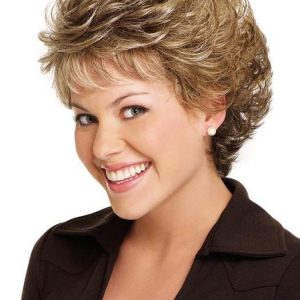 Fashion Women Short Curly Monofilament Synthetic Wig Mono Top