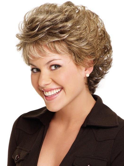 Fashion Women Short Curly Monofilament Synthetic Wig Mono Top