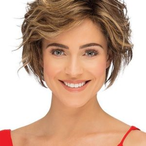 Fashion Women Short Wavy Monofilament Synthetic Lace Front Wig By Rooted