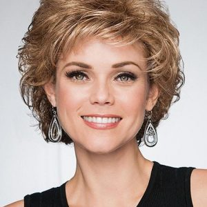 Cheap Women Curly Short Synthetic Wig Basic Cap