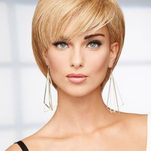 Fashion Women Short Straight 100% Human Hair Lace Front Wigs By Rooted