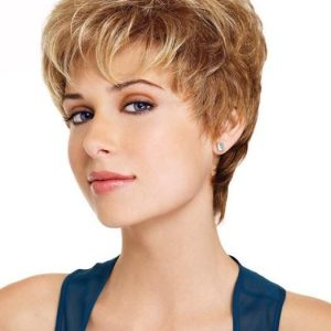 High End Women Short Straight Pixie Blonde Synthetic Wig Basic Cap