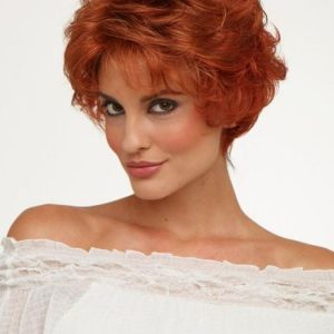 Cheap Women Short Curly Synthetic Wig Basic Cap By Rooted
