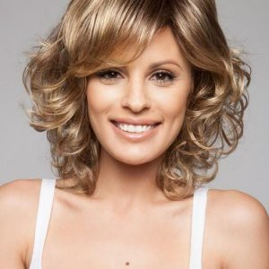 Cheap Women Curly Mid-length Synthetic Wig Mono Crown By Rooted