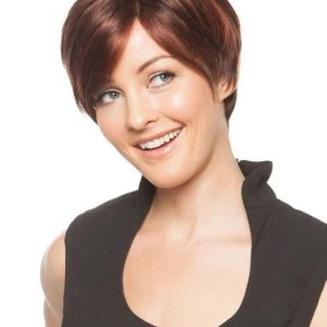 High End Women Short Straight Synthetic Wig Mono Part By Rooted By Rooted