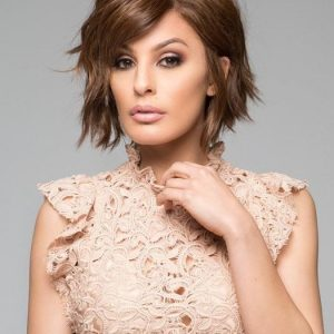 High End Women Short Straight Human Hair/ Synthetic Blend Lace Front Wig