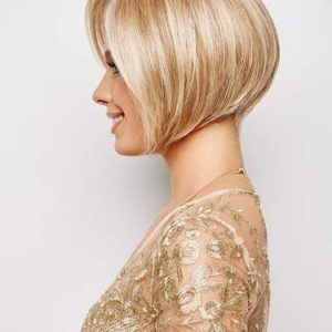 High End Women Short Straight Mid-length Synthetic Lace Front Wig