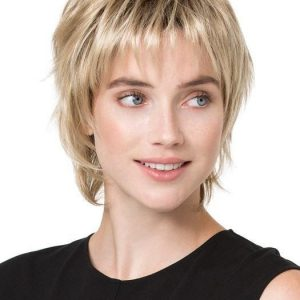 Fashion Women Short Straight Red Synthetic Wig Mono Crown By Rooted